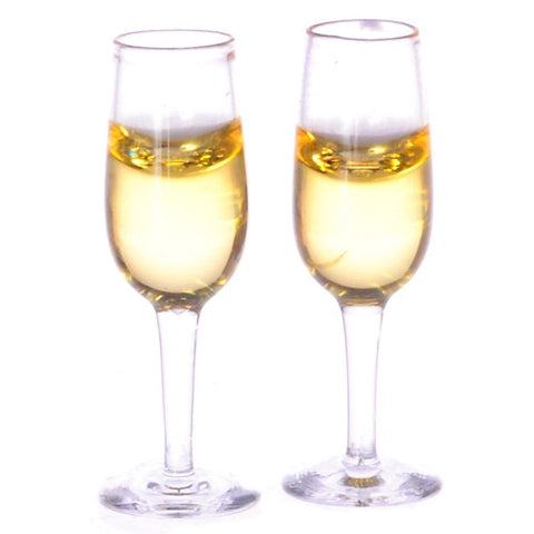 Champagne Glasses, Filled, Genuine Glass
