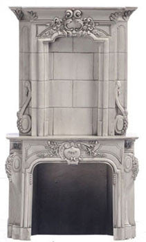 Fireplace, Gray with Overmantle