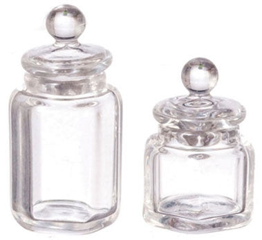 Hexagon Canister Set with Lids, Pair