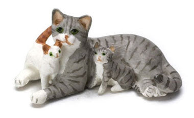Cat with Kittens, Grey and White