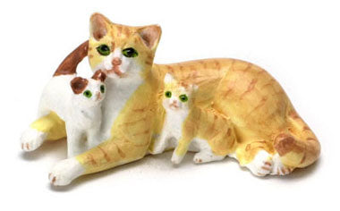 Cat with Kittens, Orange and White