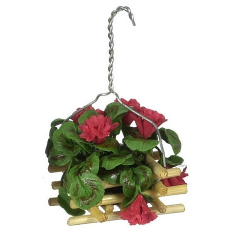 Hanging Basket of Red Geraniums