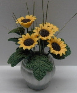 Sunflowers in Large White Vase