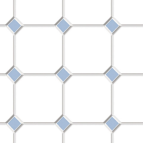 Tile, White with Blue Diamonds