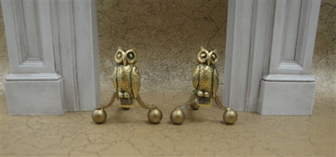 Owl Andirons, Gold Finish