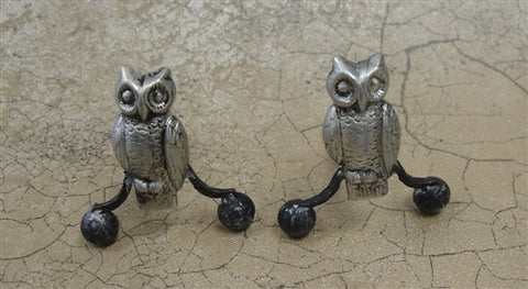 Owl Andirons, Silver Finish