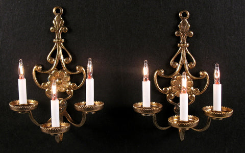 Florence Sconces, Three Arm,  Pair of Antique Bronze