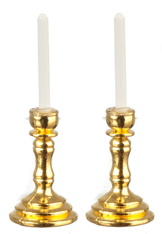 Brass Candlesticks brass candlesticks, pair with white candles – dollhouse junction