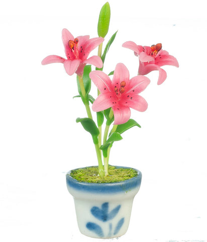 Potted Lilies, Pink, in Blue and White Pot
