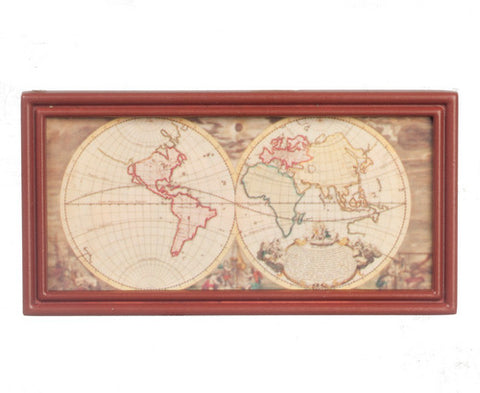 Ancient Map with Wood Tone Frame