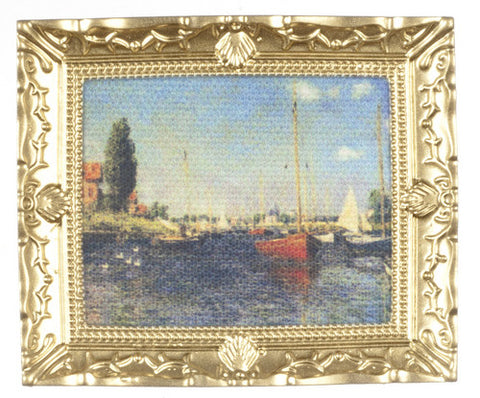 Framed Monet Painting with Sail Boat