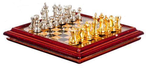 Chess Board With Metal Pieces