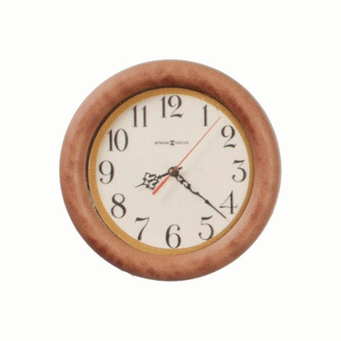 Wall Clock with Dark Wooden Frame