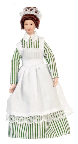 Maid Doll, Old Fashioned, Green and White Dress