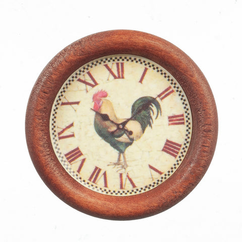Wall Clock, Round, with Rooster