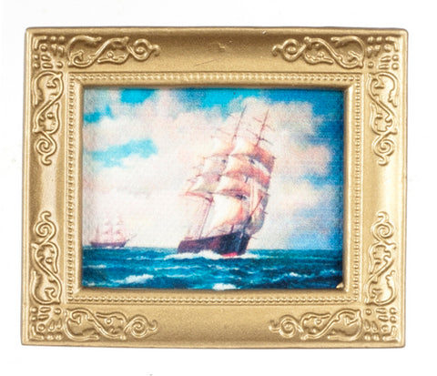 Painting with Sailing Ships, Gold Frame