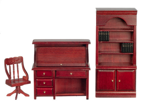 Three Piece Study with Roll Top Desk, Mahogany