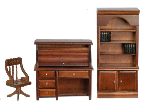 Three Piece Study with Roll Top Desk, Walnut