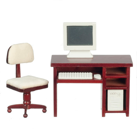 Computer Desk Set with Computer, Mahogany Finish