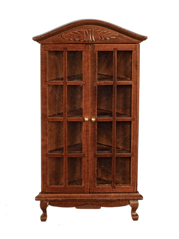 Corner Cupboard with Glass Doors, Walnut