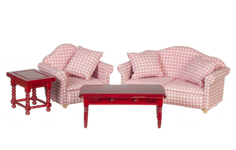 Living Room Set, Pink Check ON SPECIAL