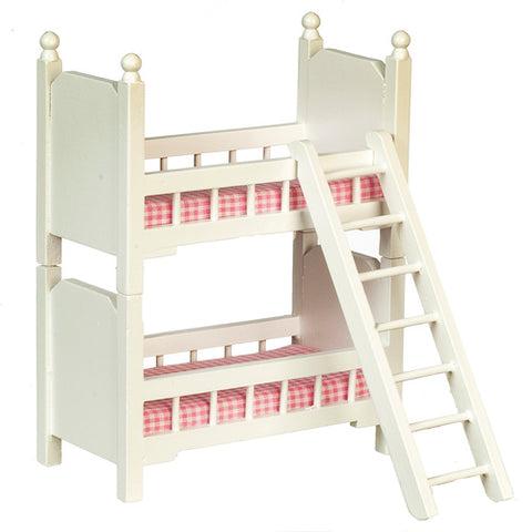 Small Bunk Bed White with Pink Check