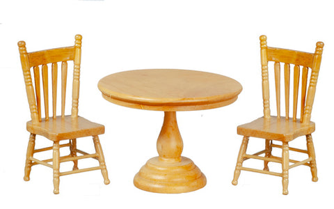 Round Table and Two Chairs, Oak Finish