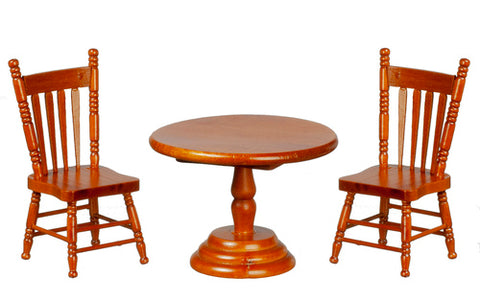Round Table and Two Chairs, Walnut Finish