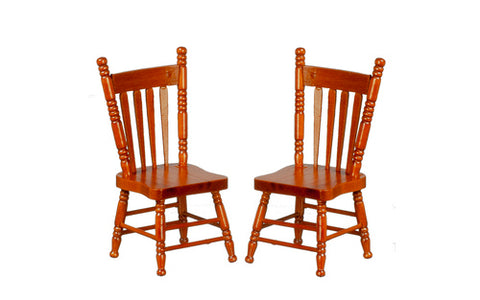 Pair of Kitchen Chairs, Walnut Finish