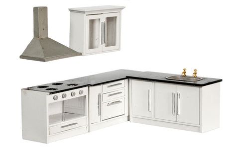 Kitchen Set, White with Black Counter Tops