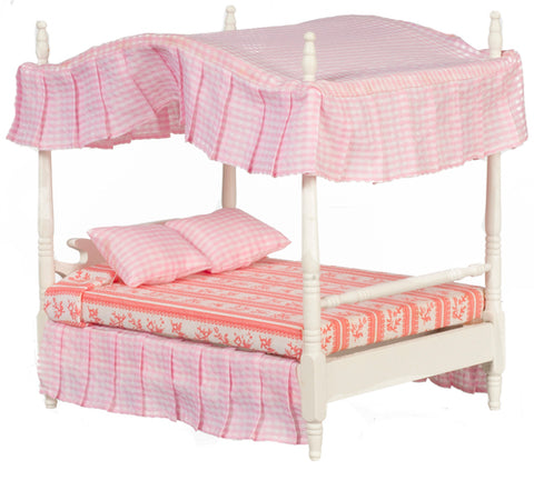 Canopy Bed, White and Pink