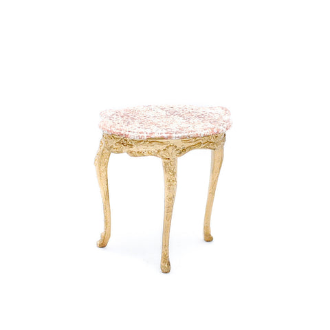 Gilded Half Round Table with Pink Marble