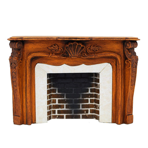 French Style Fireplace in Warm Walnut
