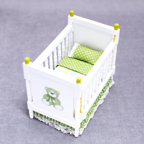 Crib, Teddy Bear with Green Accents