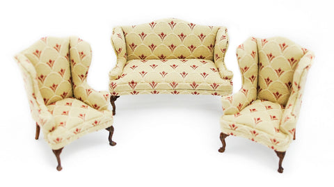 Living Room Set, Queen Anne, Beige and Red