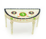 Demi Lune Table, White and Gold with Intricate Design