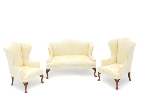 Three Piece Living Room Set, Soft Yellow Silk