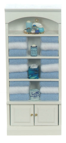 Bath Shelves with Blue Linens and Accessories