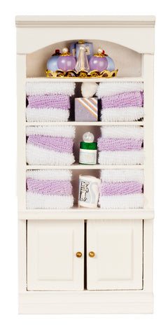 Bath Shelves with Purple Linens and Accessories