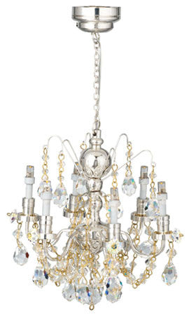 LED Battery Operated Silver 6-Arm Chandelier