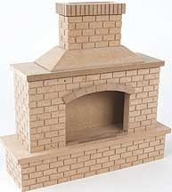 Outdoor Fireplace, Wood Brick