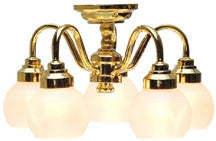 Houseworks 5 Globe Chandelier with Pearl Shades