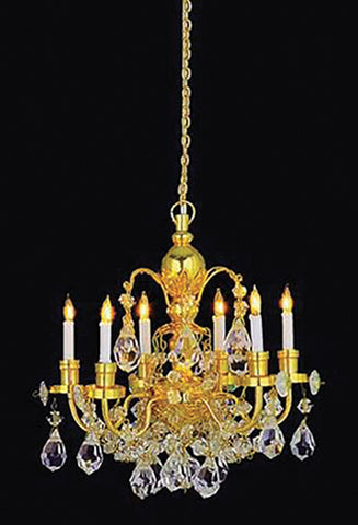 6 Arm Brass and Crystal Chandelier