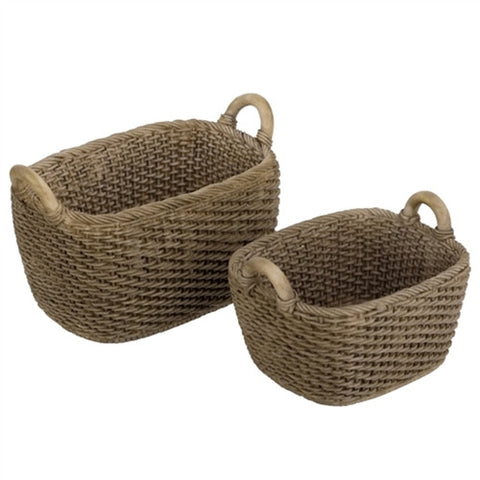Baskets, Set of Two Oblong, Woven Resin