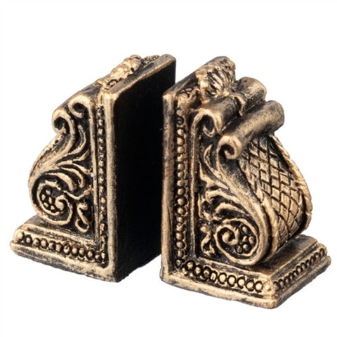 "Bookends, Scroll Design, Resin ""Bronze"""
