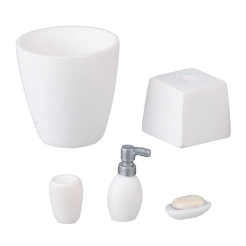 Bath Accessory Set, White Resin