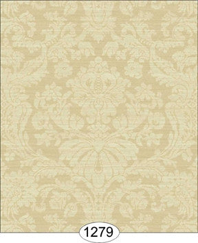 Damask, Satin, Ivory, Wallpaper