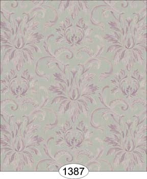 Wallpaper - Silk Damask - Purple on Grey