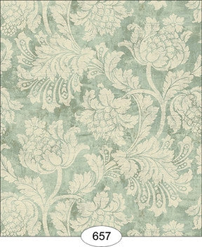 Damask, Floral Blue Wallpaper