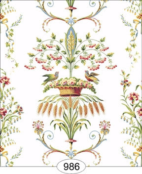 Necoclassic Wheat Bird Floral White Wallpaper